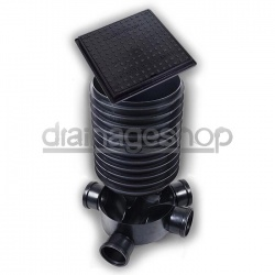 450mm Manhole Chamber (5 inlet) + 4 x 215mm high riser & seals + 450mm A15 Pedestrian Square Cover