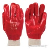 Red PVC Knit Wrist Gloves (pair) One Size
